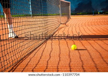 playing tennis - stock photo