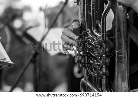 Playing wind instrument on concert
