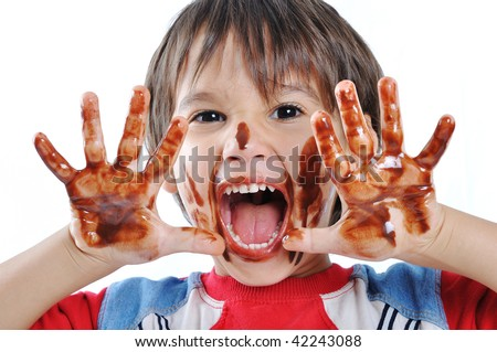 Playing with chocolate - stock photo
