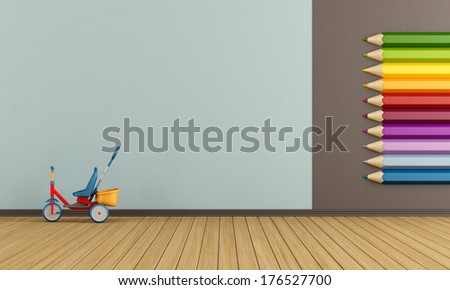 Playroom with big colorful pencils on wall and tricycle - rendering - stock photo