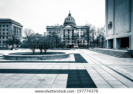 Plaza and buildings at the Capitol Complex in Harrisburg, Pennsylvania. - stock photo
