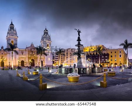 Plaza de armas de Lima, capital de Peru - stock photo