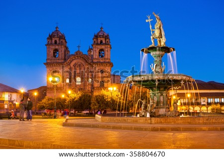 Plaza de Armas in Cusco at sunset. Plaza de Armas is a central square in Cusco, Peru. - stock photo