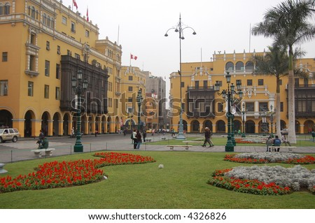 Plaza de Armas in Lima City Centre, Peru - stock photo