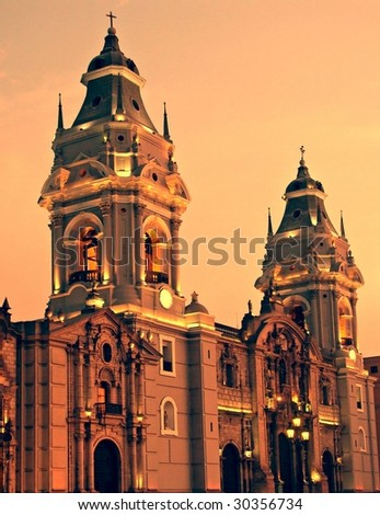 Plaza de armas in Lima, Peru - stock photo