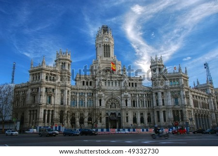 Plaza de Cibeles (Cybele's Square) - Central Post Office (Palacio de Comunicaciones), Madrid, Spain.