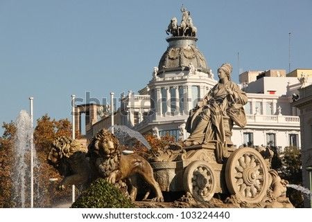 Plaza de Cibeles in Madrid, Spain. - stock photo