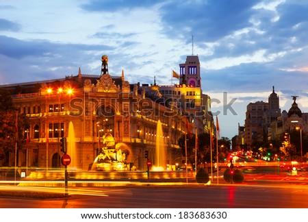 Plaza de Cibeles in summer dusk. Madrid, Spain - stock photo
