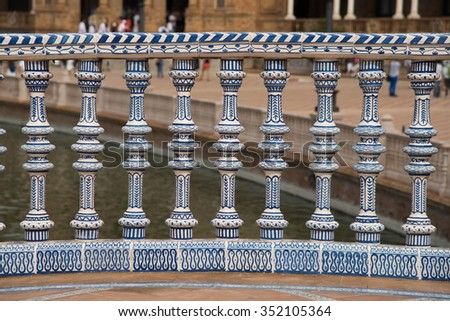 Plaza de Espana, hand painted tiles decoration details from the bridge - stock photo