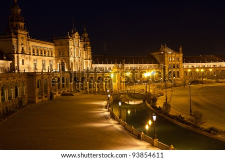 Plaza de Espana in Sevilla, Spain. Panoranic at  night. Built in 1928 for the Ibero-American Exposition of 1929