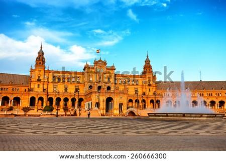 Plaza de Espana, Seville, Spain - stock photo