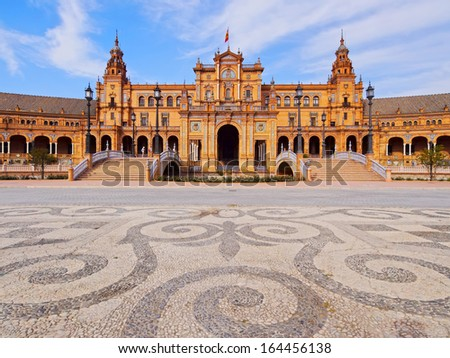 Plaza de Espana - Spanish Square in Seville, Andalusia, Spain - stock photo