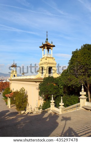 Plaza de Espanya in Barcelona, Spain.View from top of the stairs of National Museum  - stock photo