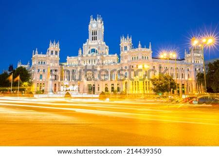 Plaza de la Cibeles (Cybele's Square) - Central Post Office (Palacio de Comunicaciones), Madrid, Spain. - stock photo
