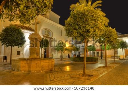 Plaza de la Iglesia square in old town surprised in the night,Marbella,Spain. - stock photo