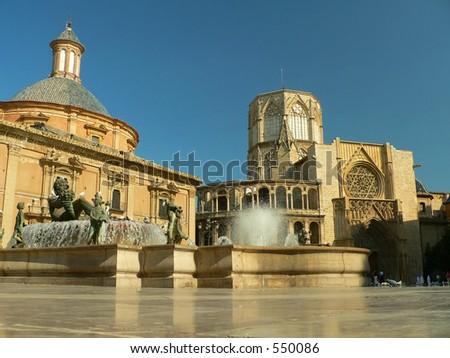 Plaza de la Virgen, Valencia, Spain - stock photo