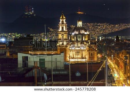 Plaza de Santa Domingo Churches Lights Zocalo Center of Mexico City Christmas Night - stock photo