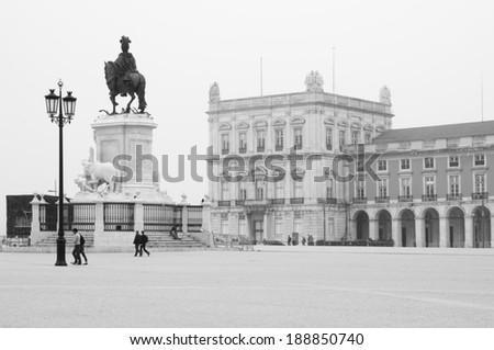 Plaza do Comercio, square and buildings, Lisboa, Portugal - stock photo