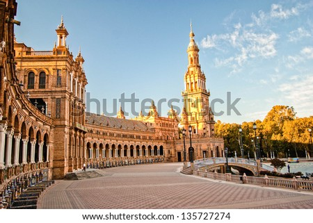 Plaza Espana in Sevilla , Spain
