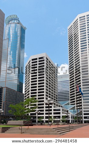 plaza in downtown minneapolis minnesota surrounded by skyscrapers and glass towers - stock photo