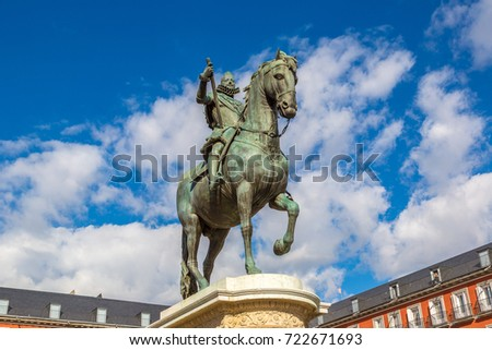 Plaza Mayor and statue of King Philips III in Madrid, Spain in a beautiful summer day