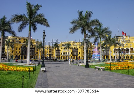 Plaza Mayor (formerly, Plaza de Armas) in Lima, Peru with christmas tree, in sunny day. - stock photo
