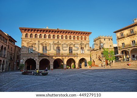 Plaza Mayor in Spanish Village on the Montjuic in Barcelona, Spain. It is an architectural museum and is also called Poble Espanyol, or Spanish town.