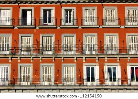 Plaza Mayor is the most important square of Madrid - stock photo
