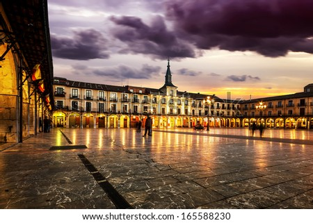 Plaza Mayor(main square) in Leon at sunset, Castilla y Leon, Spain