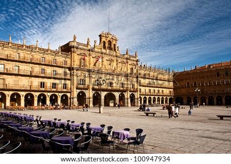 Plaza Mayor of Salamanca, Spain - stock photo
