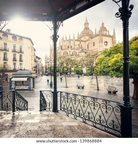 Plaza Mayor with Catedral de Santa Maria de Segovia in the background in the historic city of Segovia, Castilla y Leon, Spain - stock photo