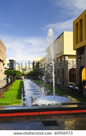 Plaza Tapatia with fountain in historic Guadalajara center, Jalisco, Mexico - stock photo