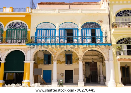 Plaza Vieja - Old Town Square, is in Havana Vieja -Old. Typical colonial Spanish architecture. Havana, cuba. - stock photo