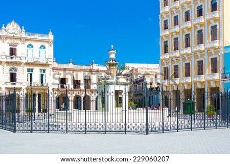 Plaza Vieja or Old Square in Havana, a tourist landmark