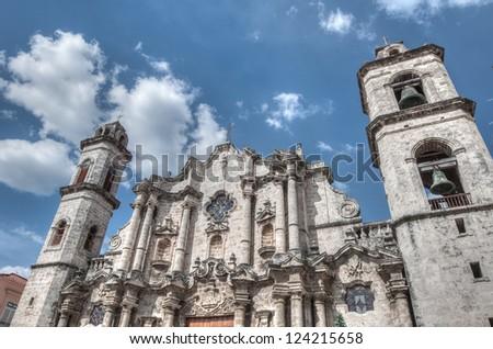 Plaza Vieja with church, Havana ,Cuba, December 26 2012 - stock photo