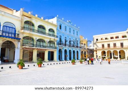 Plaza Vieja with colorful buildings, Havana ,Cuba - stock photo