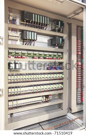 Plc atex barriers safety regulation automation panel board - stock photo