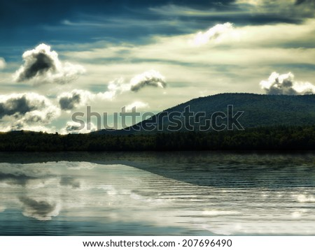Pleasant Lake in the Adirondack Mountains - stock photo