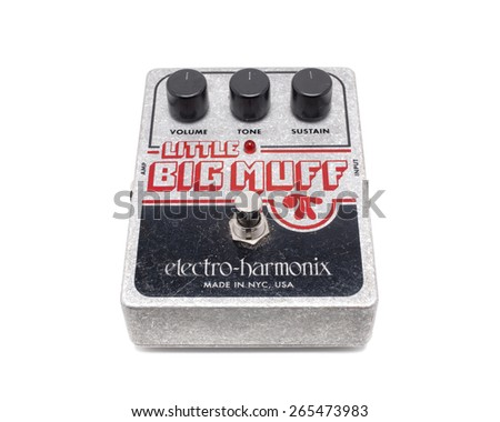 PLEASANT VALLEY, CANADA - MARCH 31, 2015: Big Muff Fuzz Pedal guitar effect made by Electro-Harmonix company which was founded in 1968 and is well known for it's line of guitar effects including the Big Muff Fuzz Pedal.
