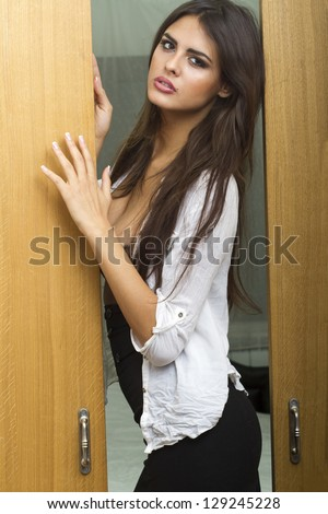 please come in  bedroom . - stock photo