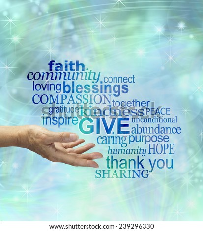 Please give generously - female hand gesturing to give surrounded by a word cloud associated to giving on a blue sparkly ethereal background  - stock photo