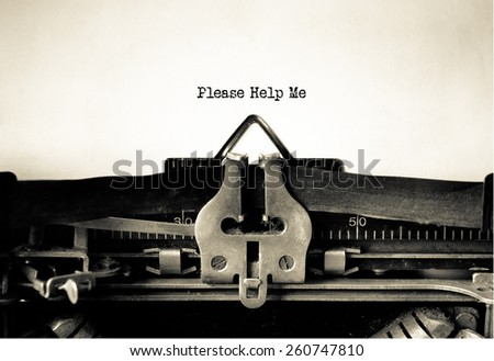 Please help me written on vintage typewriter - stock photo