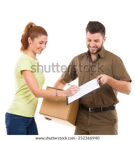 Please sign the document. Woman receives a package and sign a document. Waist up studio shot isolated on white. - stock photo