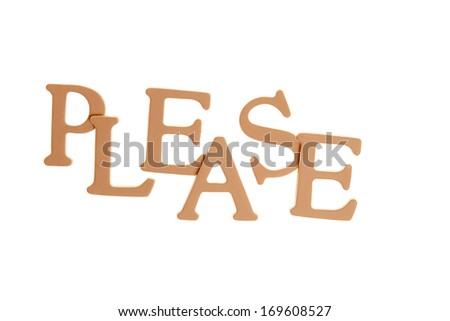 Please - Three Dimensional Letter isolated on white background.