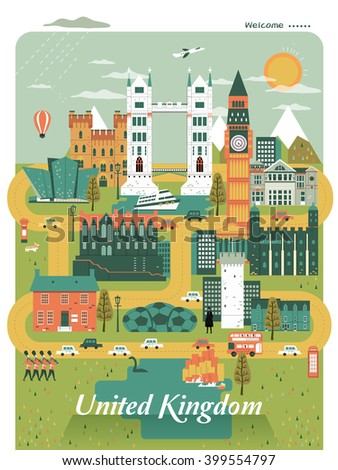pleasing United Kingdom travel poster design with attractions