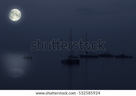 Pleasure boat at night under the moon