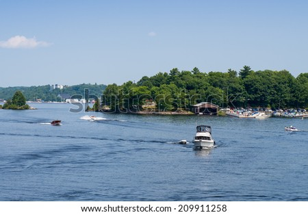 Pleasure boats and a marina in Parry Sound, Ontario