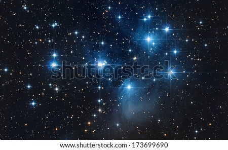 Pleiades in a dark night sky