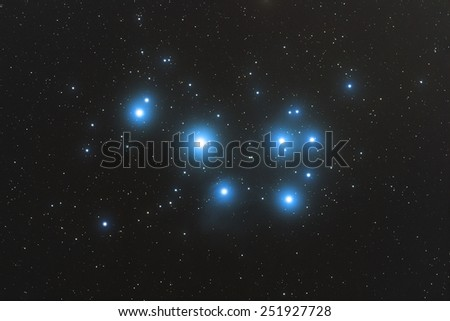 Pleiades nebula in the constellation of Taurus (the Bull). Taken through my telescope - stacked several exposures to reduce noise and enhance details. - stock photo