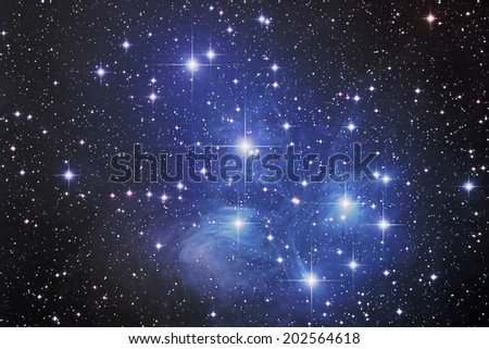 Pleiades Nebula (M45) this is a nebula in Taurus Constellation distance 435 light years from the earth